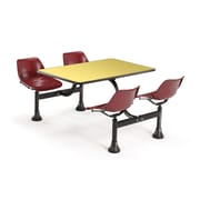 """OFM 1002-MRN-YLW 24"""" x 48"""" Rectangular Laminate Cluster Table with 4 Chairs, Yellow Table/Maroon Chair"""