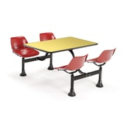"""OFM 1003-RED-YLW 30"""" x 48"""" Rectangular Laminate Cluster Table with 4 Chairs, Yellow Table/Red Chair"""