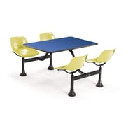 "OFM 1003-YLW-BLUE 30"" x 48"" Rectangular Laminate Cluster Table with 4 Chairs, Blue Table/Yellow Chair"