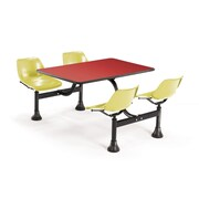 OFM 1002-YLW-RED 24 x 48 Rectangular Laminate Cluster Table with 4 Chairs, Red Table/Yellow Chair