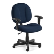 OFM Comfort Fabric Computer and Desk Office Chair, Adjustable Arms, Navy (845123010952)