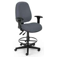 OFM Comfyseat 122-DK Fabric Computer Task Stool with Arms