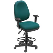OFM Comfyseat 122-DK-802 Fabric Computer Task Stool with Arms, Teal