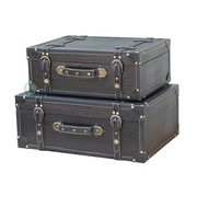 Quickway Imports Antique Style Suitcase w/ Straps (Set of 2); Black Leather