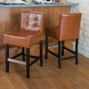 Christopher Knight Home Tate Tufted Leather Counter Stools (Set of 2); Hazelnut