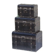 Quickway Imports Storage Trunk 3 Piece Set; Black Leather