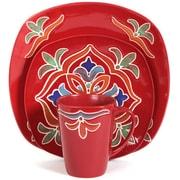 Better Homes 16-Piece Ceramic Medallion Dinnerware Set, Red