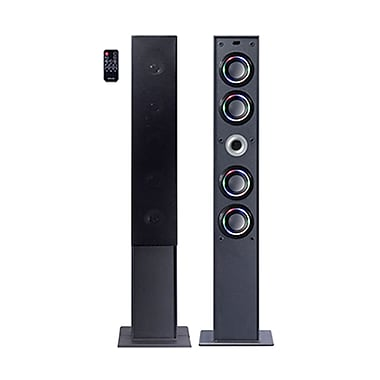 Craig® CHT954 Tower Speaker System With Color Lighted Speakers and Wireless Technology, Black