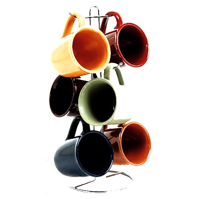 Gibson Cafe Amaretto 7-Piece Mug Set With Steel Wire Rack, Assorted 1460684