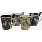 Gibson® 8-Piece Bareggio Mr. Coffee Mug and Spoon Set, Beige/Brown