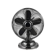 Optimus 3-Speed 12 Oscillating Antique Style Table Fan, Black
