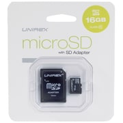 Unirex® 16GB MicroSD High Capacity Class 6 Memory Card With SD Adapter