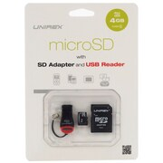 Unirex® 4GB MicroSD High Capacity Class 4 Memory Card With SD Adapter/USB Reader
