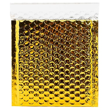 JAM Paper® 6in. x 6 1/2in. Square Metallic Bubble Envelopes w/Peel and Seal Closure, Gold, 12/Pack