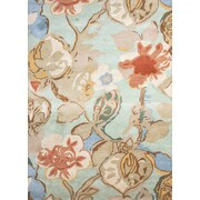 Jaipur Floral Area Rug Wool & Art Silk 6' x 6', Aqua Foam