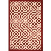 Jaipur Geometric Pattern Indoor-Outdoor Area Rug 100% Polypropylene 7.6' x 9.6', Red & White