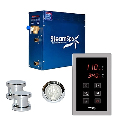 Steam Spa SteamSpa Indulgence 12 KW QuickStart Steam Bath Generator Package in Polished Chrome