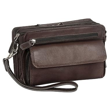 Mancini - Sac de luxe unisexe avec pochette RFID sécurisée, 9 x 2,25 x 5,5 po, brun
