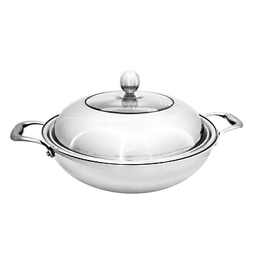 EMF Stainless Steel Wok and Lid, Silver, 12.6