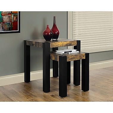 Monarch Nesting Table Set, Distressed Reclaimed-Look/Black, 2/Pack