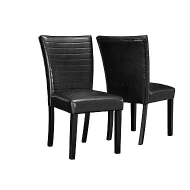 Monarch – Chaises de salle à manger Parson, tissu/similicuir, hauteur de 32 po, noir, paq./2