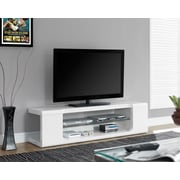 "Monarch TV Console with Tempered Glass 60""L, High Glossy White"
