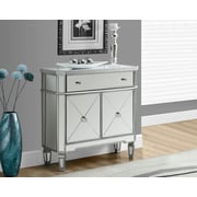"Monarch Side/Accent Table 32""L, Brushed Silver/Mirrored"