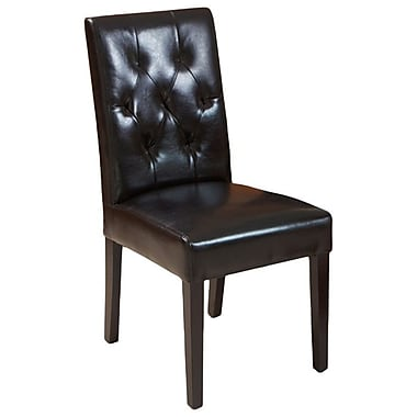 Home Loft Concept Autry Bonded Leather Dining Chair (Set of 2); Black