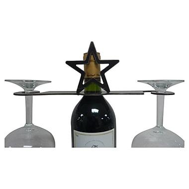 Metrotex Designs Laser Cut Star 2-Stem Bottle Topper; Natural Steel Lazcquered