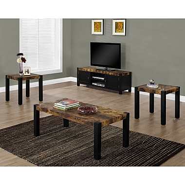 Monarch 3-Piece Table Set, Distressed Reclaimed-Look/Black