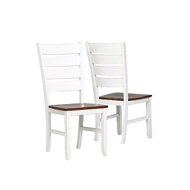 Monarch – Chaises d'appoint, 40 po haut., blanc antique/chêne, paq./2