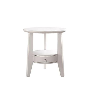 Monarch – Table d'appoint avec 1 tiroir, diamètre de 23 po, blanc