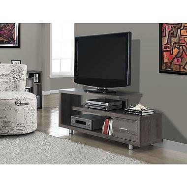 Monarch – Support pour téléviseur avec tiroir, 60 po long., style vieilli, taupe foncé