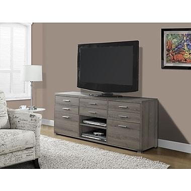 Monarch – Support pour téléviseur avec 8 tiroirs, 60 po long., style vieilli, taupe foncé