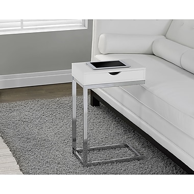 Monarch Hollow-Core/Chrome Metal Side/Accent Table, Glossy White