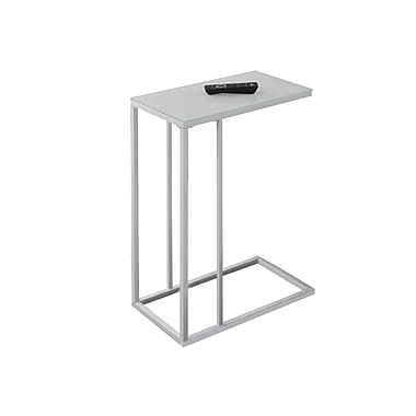 Monarch Metal Side/Accent Table with Frosted Tempered Glass, White