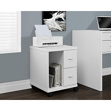 Monarch Hollow-Core 2 Drawer Computer Stand On Castors, White