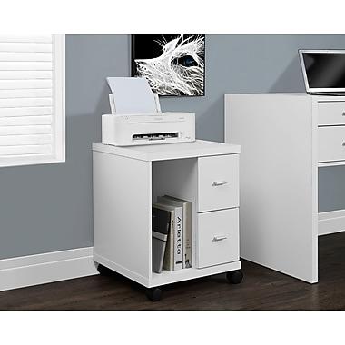 Monarch – Support d'ordinateur à âme creuse sur roulettes, 2 tiroirs, blanc