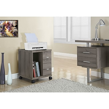 Monarch 2 Drawer Computer Stand/Castor, Dark Taupe Reclaimed-Look