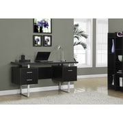 "Monarch Specialties 60""L Computer Desk, Cappucino, Silver Metal (I 7080)"