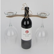 Metrotex Designs Laser Cut Steel Stall 1 Bottle Tabletop Wine Glass Rack; Gold