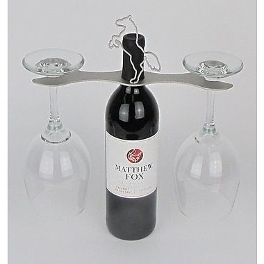 Metrotex Designs Laser Cut Steel Stall 1 Bottle Tabletop Wine Rack; Nickel