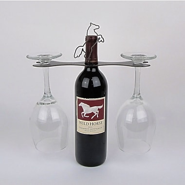 Metrotex Designs Laser Cut Steel Stall 1 Bottle Tabletop Wine Rack; Natural Steel Lacquered