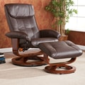 Wildon Home   Carter Recliner and Ottoman; Caf  Brown