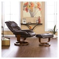 Wildon Home   Dawn Leather Ergonomic Recliner and Ottoman