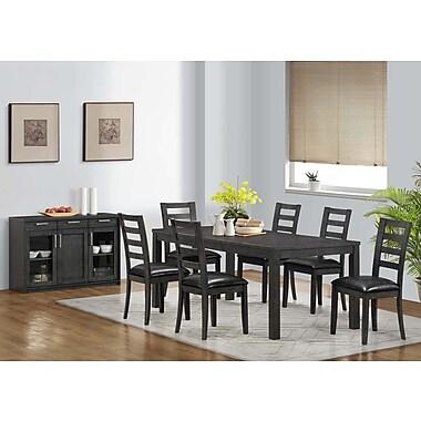 Monarch - Chaise fixe en similicuir, 39 po de hauteur, gris charbon/noir, paq./2