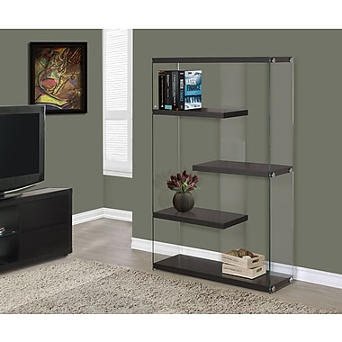 Monarch Hollow-Core/Tempered Glass Bookcase, 60