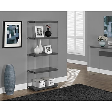 Monarch Hollow-Core/Tempered Glass Bookcase with 3 Storage Shelves, 60