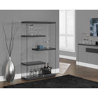 Monarch Hollow-Core/Tempered Glass Bookcase with 3 Floating Storage Shelves, 60