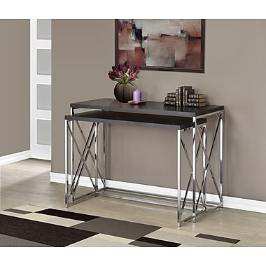 Monarch Hollow-Core/Chrome Metal Console Table, Cappuccino, 2/Pack